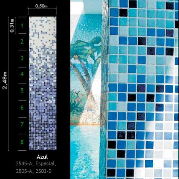 Стеклянная мозаичная растяжка Ezarri Azul рис. 11